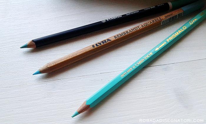 Tre sfumature di turchese. Da sinistra: Stabilo Softcolor |Lyra Rembrandt Aquarell | Caran D'Ache Prismalo